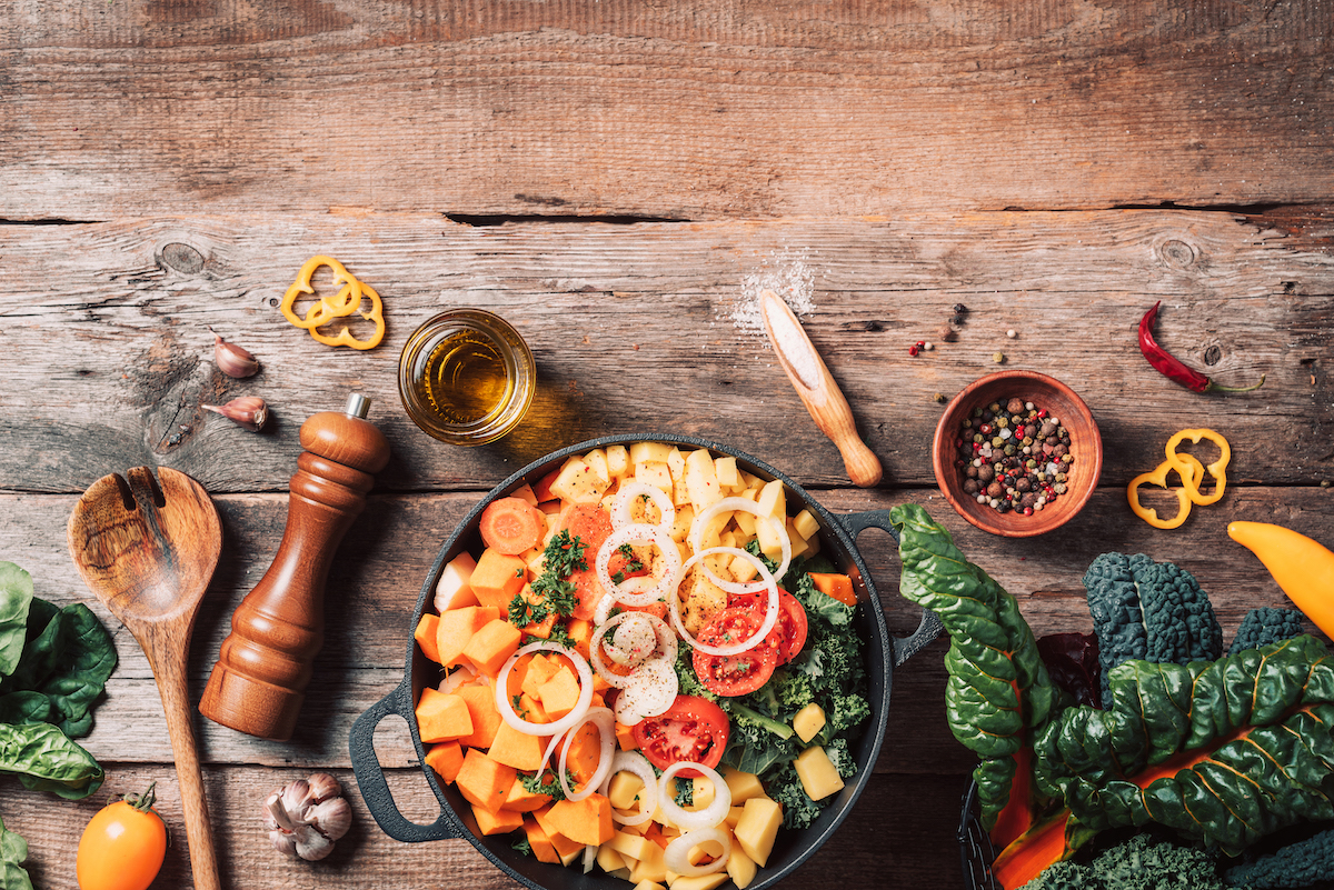 Ingredients for cooking on wooden table